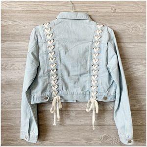 ✨LAST ONE✨Lace Up Back Cropped Jean Jacket